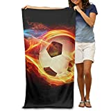 Colorful Fire Soccer Football Flying 100% Polyester Adults Beach Towels Unisex Bath Towel