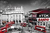 London Piccadilly Circus Poster (91,5cm x 61cm) + 1 pair of black poster hangers