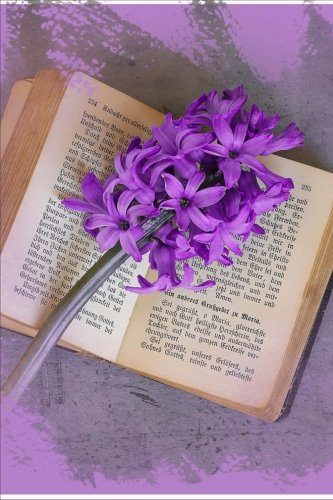 A Purple Hyacinth Flower on a Vintage Book Journal: 150 Page Lined (Creations Memories Journal)