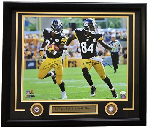 Bell Signed Photo (Antonio Brown & Le'Veon Bell Dual Signed & Framed 16x20 Pittsburgh Steelers Photo JSA)