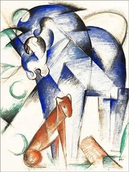 Posterlounge Cuadro de PVC 60 x 80 cm: Mythical Animals (Blue Horse and Red Dog) de Franz Marc