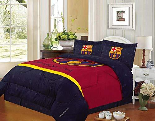 FCBarcelona Queen Size 4pc Comforter Set, Navy ()