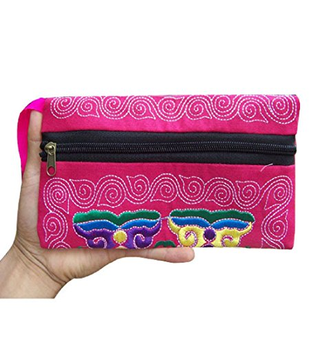 HOT!Ethnic Handmade Wallet ,BeautyVan Fashion Faction Women Ethnic Handmade Embroidered Wristlet Clutch Bag Vintage Special Wallet (Red)