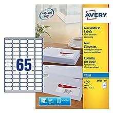 Avery J8651-100 - Paquete de 6500 etiquetas de dirección (38.1 x 21.2 mm), blanco