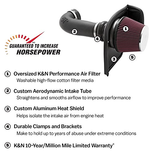 K&N Performance Air Intake Kit 63-1561 with Lifetime Red Oiled Filter for 2009 Dodge Ram Pickup Truck 1500 2500 5.7L V8