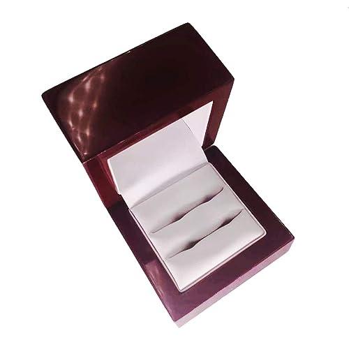 Sj Fashion - Caja de madera para anillos de matrimonio, pequeña, de compromiso, madera de cerezo envejecido, caja expositora para anillos de boda: ...