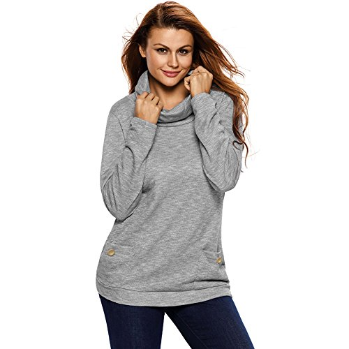 [BENNINGCO Womens New Season Essential Long Sleeve Top(Grey,L)] (Miss America Costume 2016)