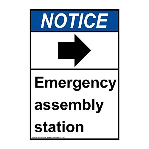 Ansi Notice Emergency Assembly Station [Right Arrow] White Metal Sign Aluminum Signs 12X18 ()