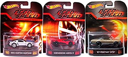 Amazon Com Need For Speed Hot Wheels 3 Car Set Pontiac Gto Mustang Koenigsegg Agera Retro Entertainment Die Cast 1 64 Three Pack 2014 Toys Games