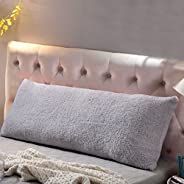 """Reafort Ultra Soft Sherpa Body Pillow Cover/Case with Zipper Closure 21""""x54"""" (Silver Grey"""