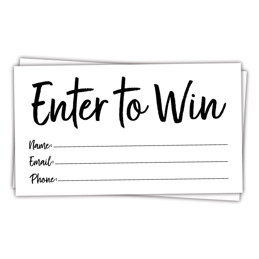 50 Enter to Win Cards - Contest Entry Cards - Contest and Raffle Entry Cards