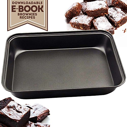 "My Brownie Pan | Professional Nonstick Bakeware, 13"" x 9"" Rectangular Cake Brownie Pan with RECIPE EBOOK, Heavy Gauge Anti-rust Stainless Steel, Heat Resistant (500F), Dishwasher Safe"
