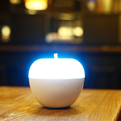 Apple Night Light (BestFire LED Apple Night Light Portable Blowing Sensor LED Lamp with 7 Color Changing and Dimmable White Light Best Gift for Baby Room, Bedroom Outdoor)