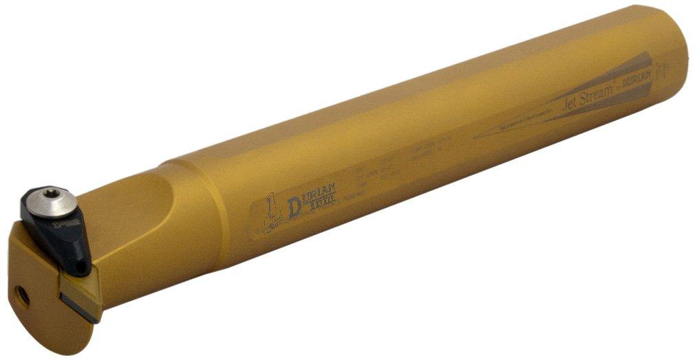 Dorian Tool AS-ADVUN Jet-Stream Round Shank Chromium Molybdenum Alloy Steel Thru-Coolant Boring Bar, Right-Hand Cut, 10'' Overall Length, 1-1/4'' Shank Diameter