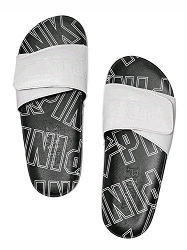 Pink Crossover - Victoria's Secret Pink Crossover Comfort Slides Sandals, White/Logo, Large