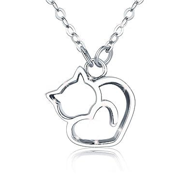 Joyería Collares de plata para mujer Colgante de gato con 45 cm Cadenas regalo de Navidad para mujeres y niñas: Amazon.es: Joyería