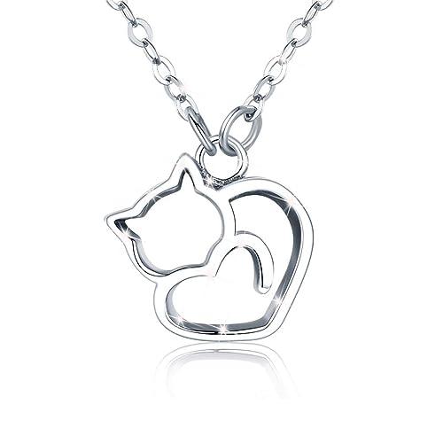 Joyería Collares de plata para mujer Colgante de gato con 45 cm Cadenas regalo de Navidad para mujeres y niñas