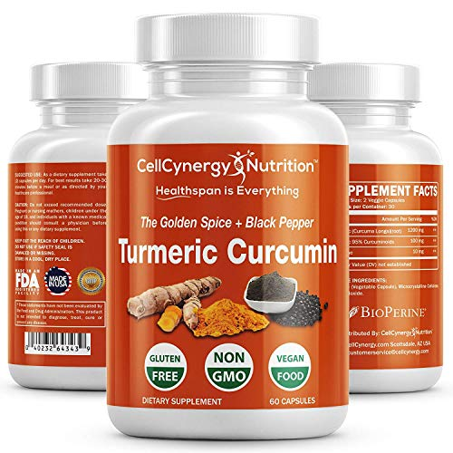 All Natural Turmeric Curcumin Supplement – Non-GMO, Vegan - Potent 95% Curcuminoids, BioPerine (Black Pepper) Best Absorption – Anti-Inflammatory, Joint Support, Pain Relief – CellCynergy 60 Capsules