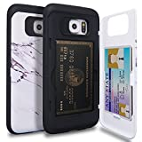 Galaxy S6 Case, TORU [S6 Wallet Case Pattern Marble] Protective Slim Fit Dual Layer Hidden Credit Card Holder ID Slot Card Case with Mirror for Samsung Galaxy S6 (2015) - Marble Stone