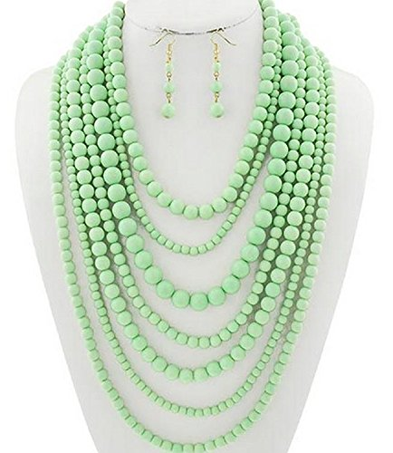Statement Beaded Layered Strands Mint Green Pearl Beads Long Gold Chain Necklace Earrings (Mint Beaded Necklace)