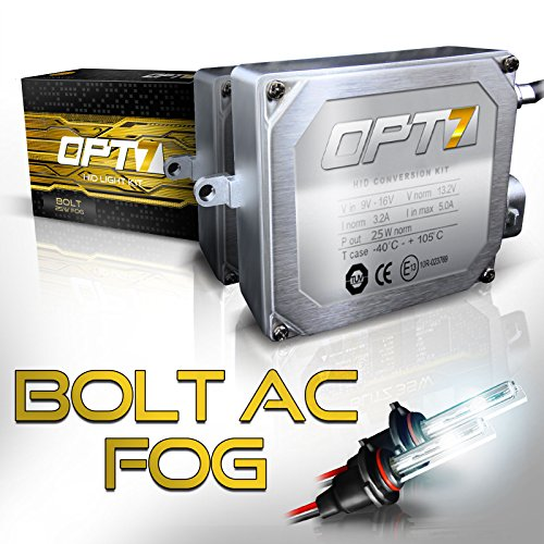 OPT7 Bolt 25w AC H10 (9140, 9145) Fog Light HID Kit - Relay Bundle - All Bulb Sizes and Colors - 2 Yr Warranty [5000K Diamond White Xenon] by OPT7