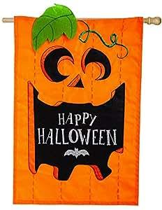 Evergreen jack-o-halloween Applique bandera de la Casa, 28x 44pulgadas