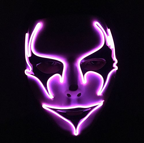 Melbourne Shuffle EL Mask Halloween Cosplay Masquerades Mask Light Up Mask, One Size (Purple) (Halloween Rave)