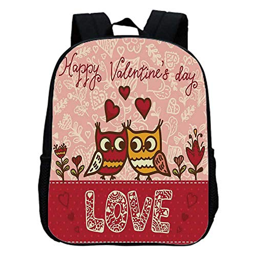 Valentines Day Fashion Kindergarten Shoulder Bag,Owls in Love Print Cute Partners Couples Boho Style Hearts Flowers Dots For Hiking,One_Size ()