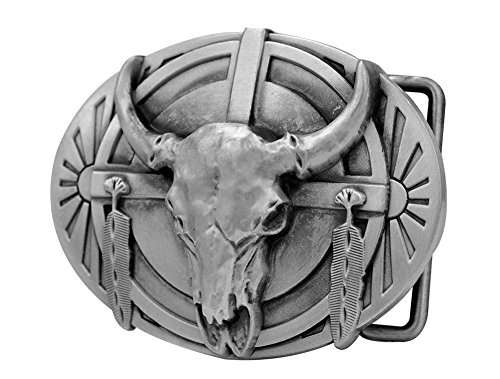 [Buckle Rage Mens Native American Ceremonial Buffalo Skull Belt Buckle Silver] (Buffalo Buckle)