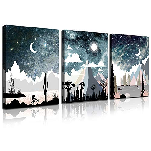 CANVASZON Wall Art for Bedroom Landscape Painting Outer Space Starlight Canvas Prints Star Sky Pictures Astronomy Artwork Bathroom Wall Décor Abstract Scenery Sunset for Office Living Room Home Deco ()