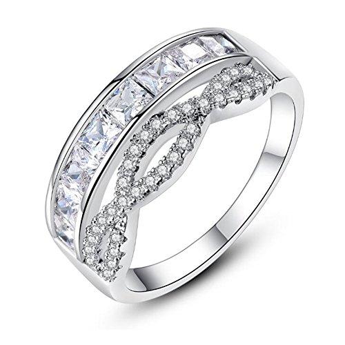Half Band Eternity Bezel (TEMEGO Princess Channel Wedding Band,White Gold Infinity Love Micro Pave CZ Half Eternity Ring,Size 7)