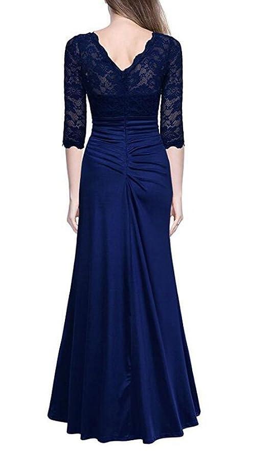 MILEEO Damen Abendkleid 3 4 Arm Elegant Spitzen Kleid Brautjungfer Langes  Cocktailkleid  Amazon.de  Bekleidung bee211049c