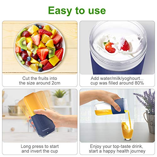 Mini-Portable-Blender-Podoor-Personal-Blender-350ml-Smoothie-Shake-Maker-Fruit-Juice-Cup-with-Four-Blades-Handheld-Juicer-Machine-3000mAh-Rechargeable-24000rpmmin-for-HomeOfficeSportOutdoors
