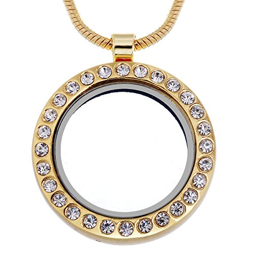 RUBYCA Living Memory Round Locket Snake Chain Necklace Crystal Floating Charm DIY Gold Tone 5Pcs