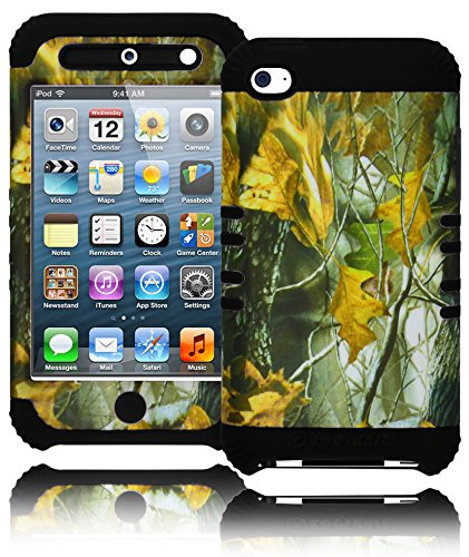 iPod Touch 4 Case, Bastex Heavy Duty Hybrid Soft Black Silicone Cover Hard Leaf Camo Design Case for Apple iPod Touch 4