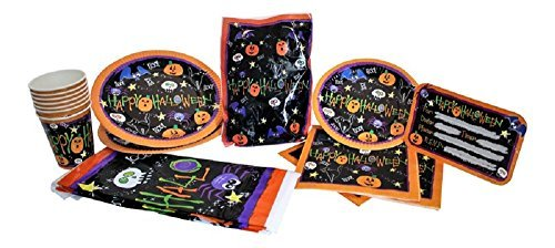 Halloween Party Supplies: Plates, Napkins, Cups, Table Cover, Invitations and Loot Bags for up to 8 guest. (Holloween Party Food)