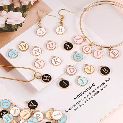 XINRUI 78 Pcs Cute Mixed Bracelet Charms Metal A-Z Letter Round Shape Charms Enamel Charms Double Sided Alphabet Charms for Necklace and Bracelet Making Craft Supplier White
