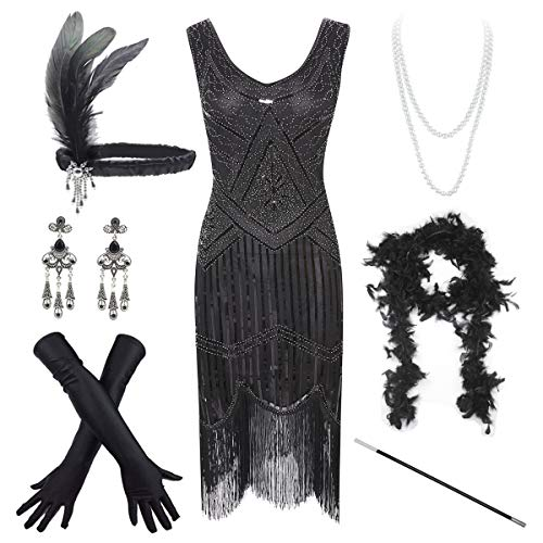 Women's Vintage 1920s Sequin Beaded Tassels Hem Flapper Dress w/Accessories Set (X-Small, Black)
