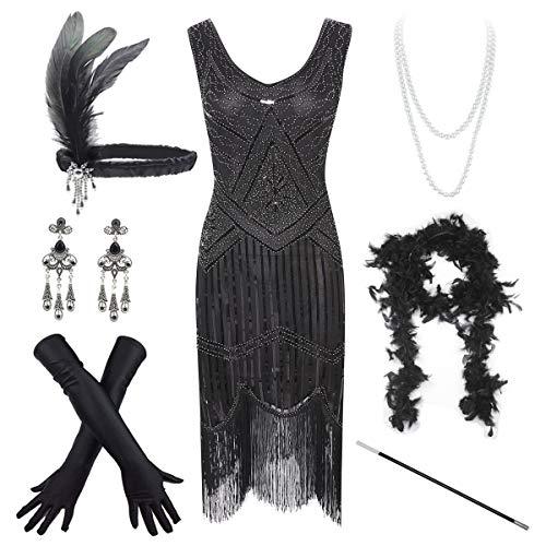 Women's Vintage 1920s Sequin Beaded Tassels Hem Flapper Dress w/Accessories Set (3X-Large, Black)
