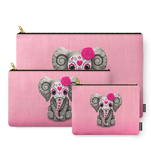 Price comparison product image Society6 Pink Day Of The Dead Sugar Skull Baby Elephant Carry-All Pouch Set of 3