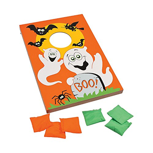 Halloween Assembly Games (Fun Express Halloween Bean Bag Toss Game (Wooden Board with 6 Bean Bag) Party)