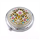 Duttek Mini Round Metal Cosmetic Makeup Double Compact Purse Mirror Pocket Mirror Double-sided Folding Cosmetic Round Mirror- Assorted Mirror Back Pattern design (Silver)