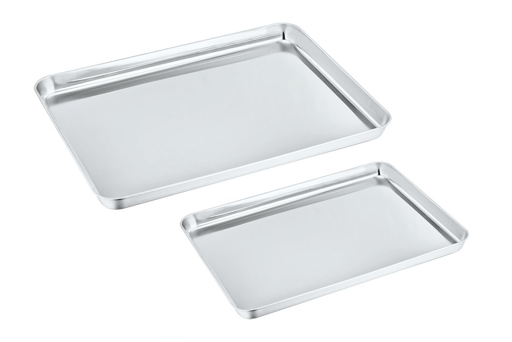 Toaster Oven Pan Tray Set of 2, P&P Chef Stainless Steel Small Baking Sheets Pans, Rectangle Shape & Deep Rim, Non Toxic & Dishwasher Safe by P&P Chef