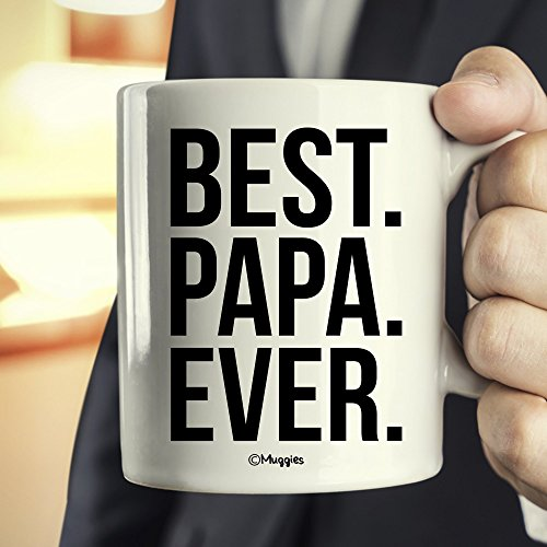Muggies Best Papa Ever Mug - Christmas/Birthday/Father's Day Gift For Men, Husband, Grandpa & Dad! Coffee Tea 11oz Cup With Woodworking Ebook by Muggies (Image #1)