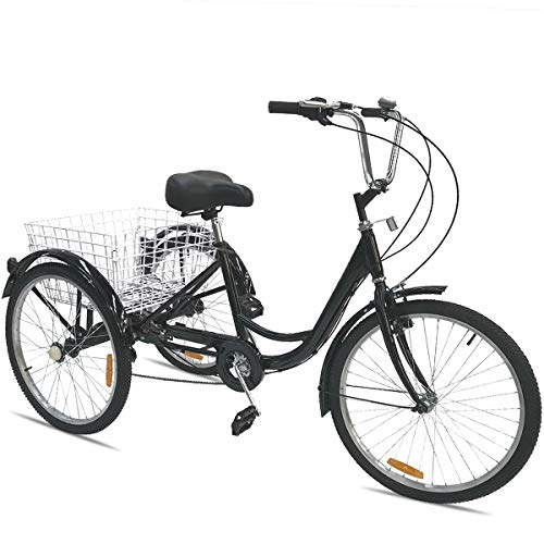 Happybuy 24 Inch Adult Tricycle Series 6/7 Speed 3 Wheel Bike Adult Tricycle Trike Cruise Bike Large Size Basket for Recreation, Shopping,Exercise Men's Women's Bike (Black/7-Speed)