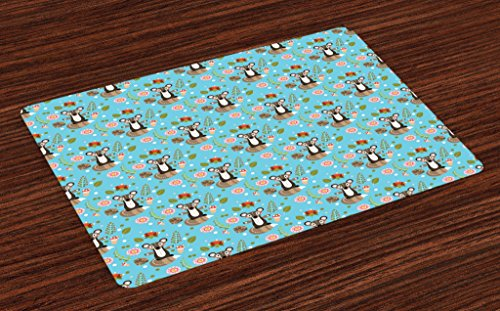 (Lunarable Raccoon Place Mats Set of 4, Cute Character with Flower Blooms Berries Herbs Leaves Buds Pine Cones Forest Print, Washable Fabric Placemats for Dining Room Kitchen Table Decor, Multicolor)