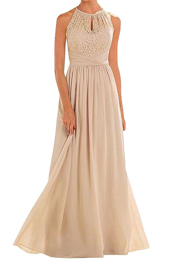 Annadress Womens Halter Lace Chiffon A-line Chiffon Floor-Length Bridesmaid Dress