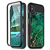 iPhone Xs Max Case, [Built-in Screen Protector] WeLoveCase Full-Body Rugged Case with Glossy Marble Pattern Shockproof 3 in 1 Hybrid Soft TPU Bumper + PC Back Cover for iPhone Xs Max Green Marble