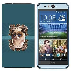 TECHCASE---Cubierta de la caja de protección para la piel dura ** HTC Desire Eye ( M910x ) ** --Me divertí vez Funny Cat