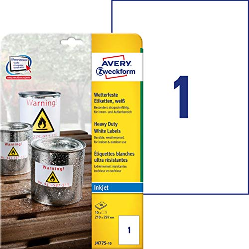 Avery J4775-10 Heavy Duty Weatherproof Labels for Inkjet Printers (210 x 297 mm Labels, 1 Label per A4 Sheet, 10 Sheets per Pack) - White